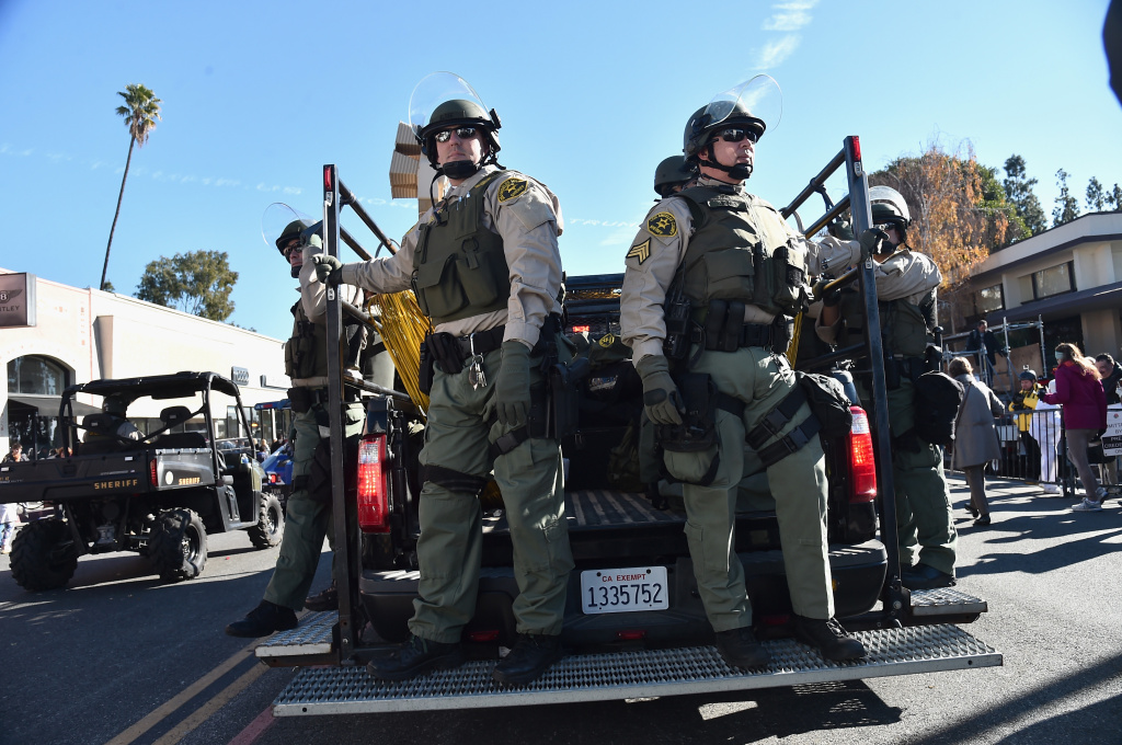 Members of the Los Angeles Sheriff's Department at the Rose Parade on January 1, 2016 in Pasadena, California.