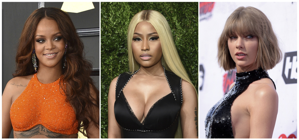 This combination photo shows music artists Rihanna, from left, Nicki Minaj and Taylor Swift. A new survey of pop charts over the past six years finds that men overwhelmingly dominate the ranks of artists and songwriters and that 2017 represented a six-year low for female artists. University of Southern California researchers released a study that shows women comprised just 22.4 percent of artists and 12.3 percent of songwriters on the Billboard's singles charts.