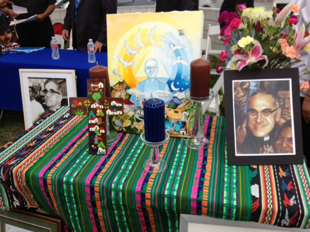 A shrine to Archbishop Oscar Romero at the corner of Pico Boulevard and Vermont Avenue, where local Salvadoran-Americans gathered Thursday to talk about their hopes that he'll become a saint. Romero was assassinated in 1980 in El Salvador.