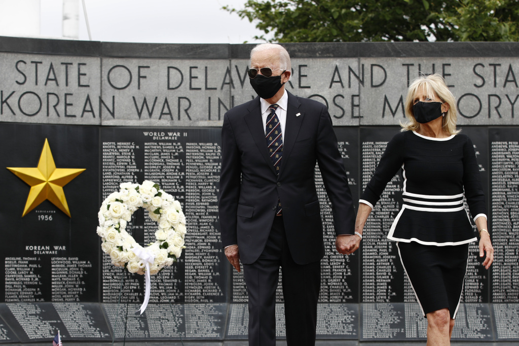 Democratic presidential candidate, former Vice President Joe Biden and Jill Biden depart after placing a wreath at the Delaware Memorial Bridge Veterans Memorial Park on Monday.