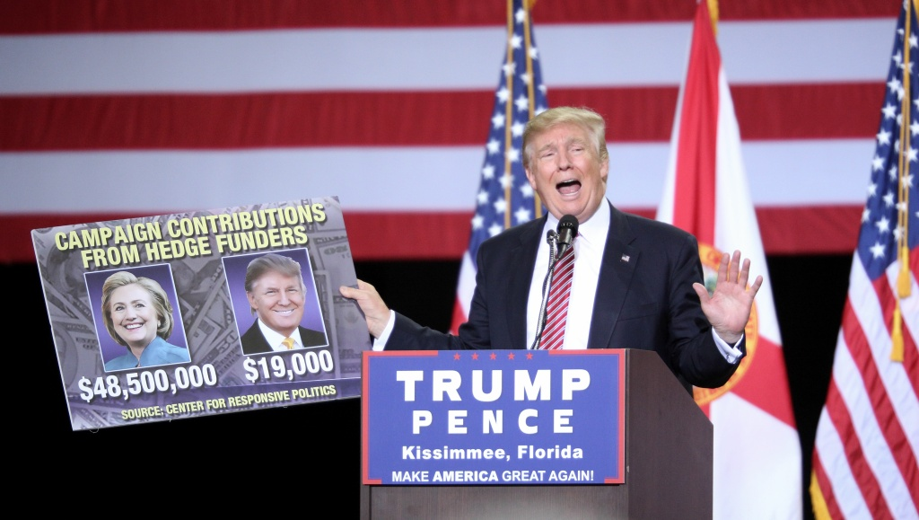 Republican presidential candidate Donald Trump holds up a placard while addressing supporters during a campaign rally at Silver Spurs Arena, inside the Osceola Heritage Park in Kissimmee, Florida.