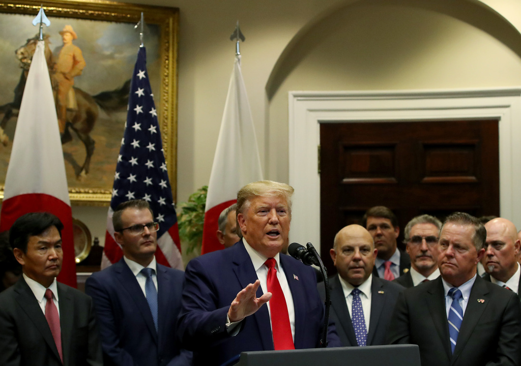 U.S. President Donald Trump speaks during an event where U.S.-Japan trade agreements were signed at the White House on October 7, 2019 in Washington, DC.