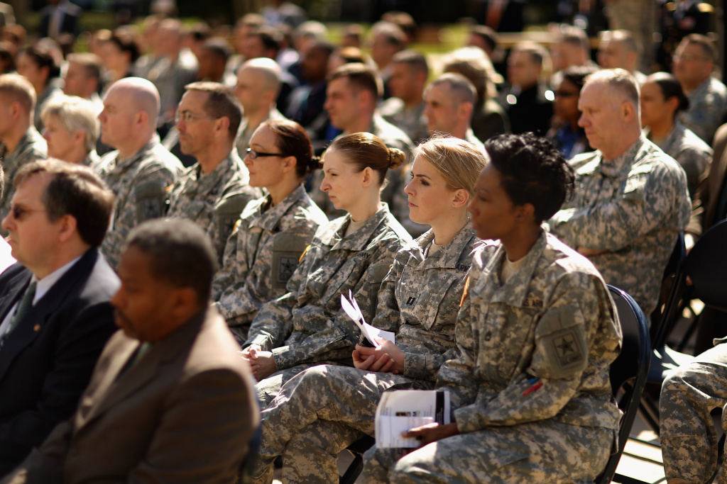 Soldiers, officers and civilian employees attend the commencement ceremony for the U.S. Army's annual observance of Sexual Assault Awareness and Prevention Month in the Pentagon Center Courtyard March 31, 2015 in Arlington, Virginia.