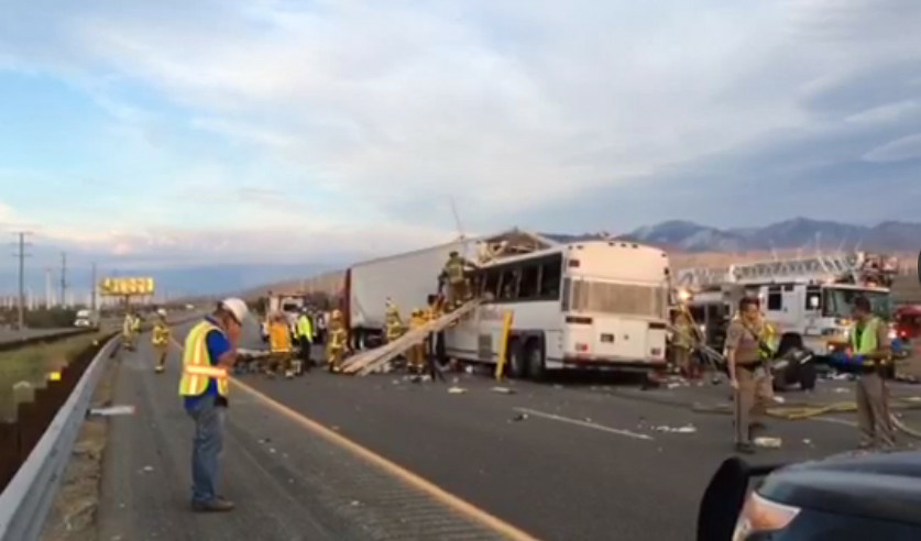 The scene of a bus crash that occurred on Sunday, Oct. 23, 2016 on I-10 near Palm Springs.