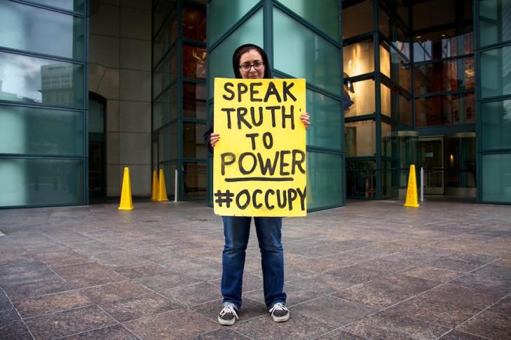 Shaimaa from Monrovia protests with other supporters of Occupy L.A. on Friday, November 4, 2011.