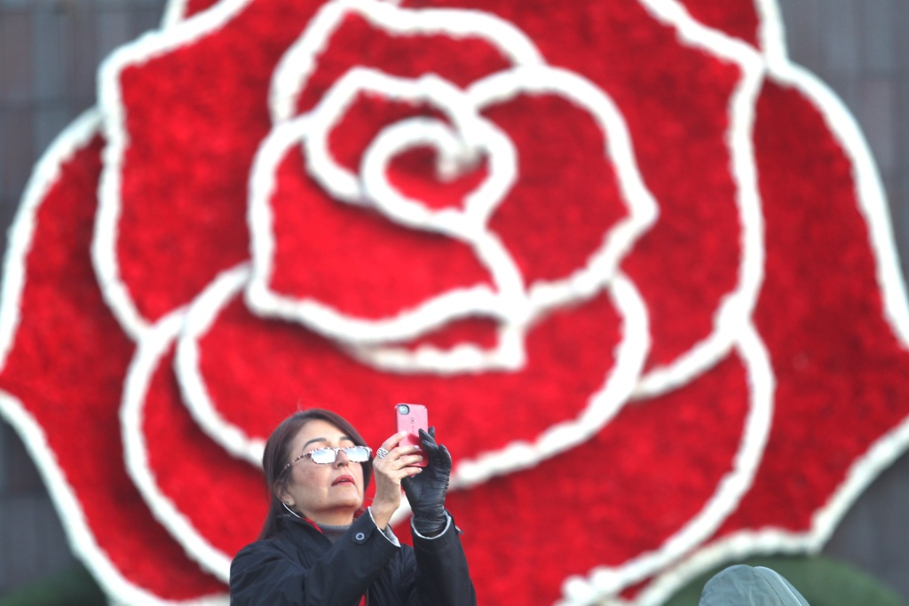 A Rose Parade spectator takes pictures while waiting the start of the 126th Rose Parade in Pasadena, Calif., Thursday, Jan. 1, 2015.