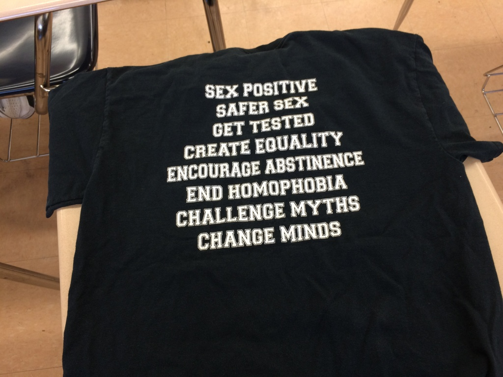 On the back of the Taft Charter High School Sex Squad shirts, there's a list of what the group stands for.