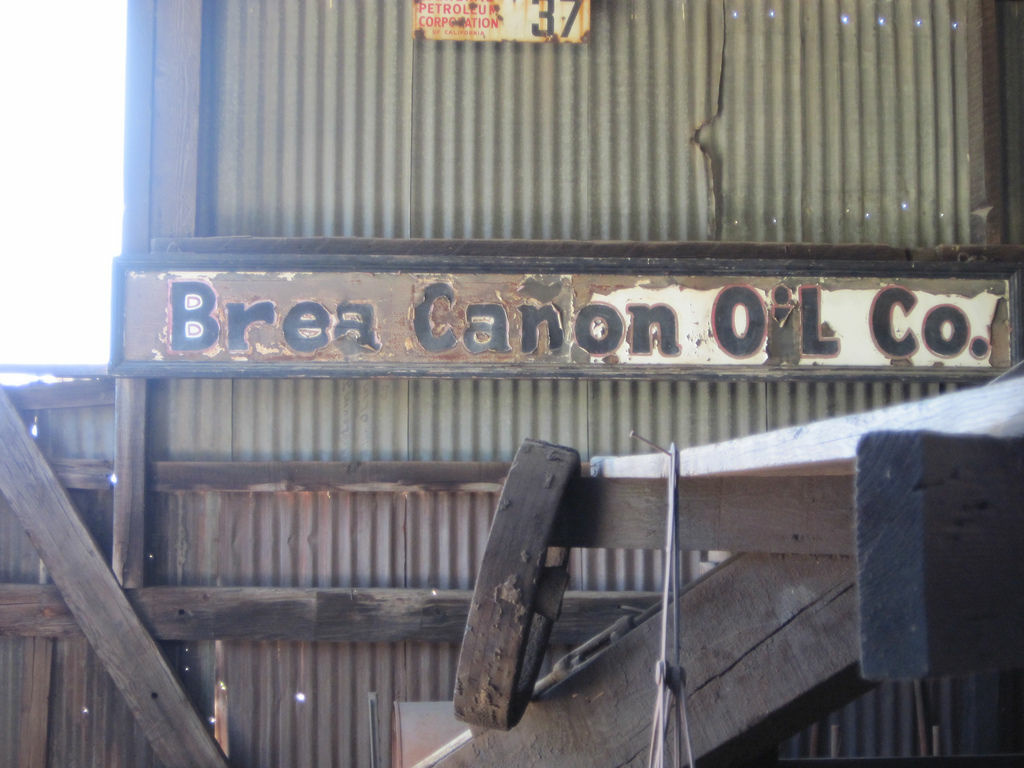 A Brea Canon Oil Co. sign in historic Olinda, April 2012.