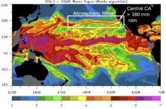 On October 14, 2009 an atmospheric river channeled water vapor across nearly the entire width of the ocean basin, to deposit copious rains over the central coast of California.