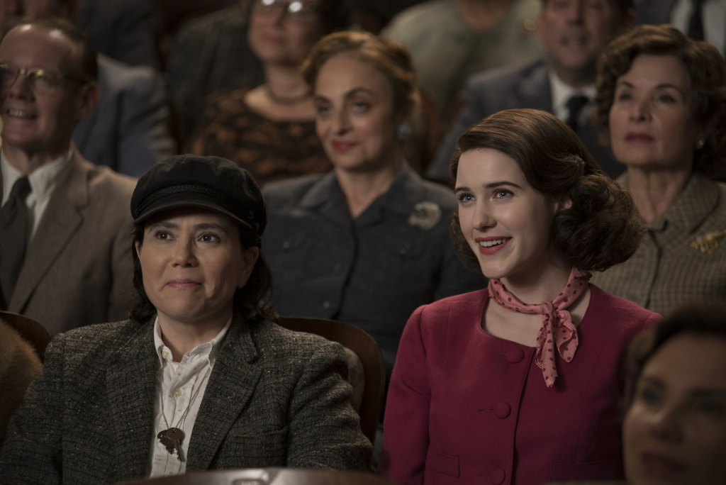 Alex Borstein as Susie Myerson and Rachel Brosnahan as Midge Maisel in Amazon's