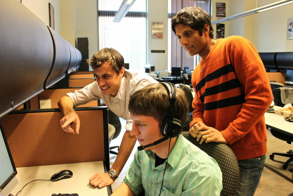 Researchers at Signal Analysis Interpretation Lab at USC test out their drunk speech detector. Clockwise from top: Shri Narayanan, Daniel Bone and Matt Black.