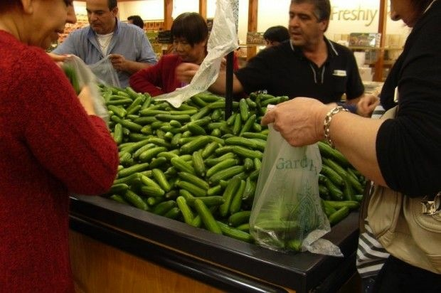 Shopping for cucumbers at Super King, April 2011