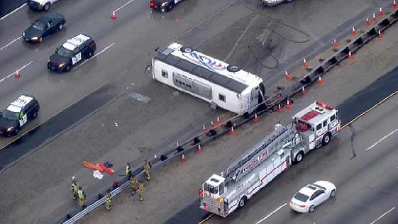 A screencap of the broadcast by NBC-LA of a tour bus crash on Dec. 19, 2013, on Interstate 15 in Corona.