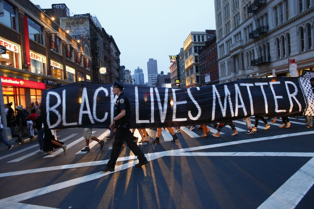 File: A police officer patrols during a protest in support of the Black lives matter movement in New York on July 9, 2016.