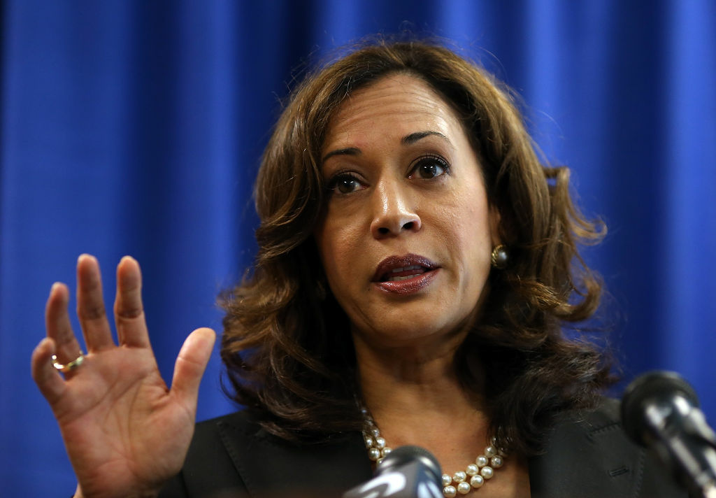 California Attorney General Kamala Harris speaks to reporters after California Governor Jerry Brown signed the California Homeowner Bill of Rights on July 11, 2012.