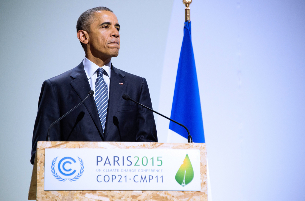 President Barack Obama addresses the opening ceremony of the World Climate Change Conference 2015 in Paris, France on Nov. 30.