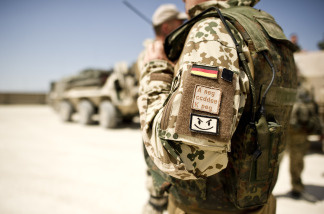 A German soldier wears as badge with his blood type as he gets prepared to depart on a multi-day patrol in Kunduz, Afghanistan on May 14, 2010.   In northern Afghanistan, incoming U.S. troops are officially under German command.