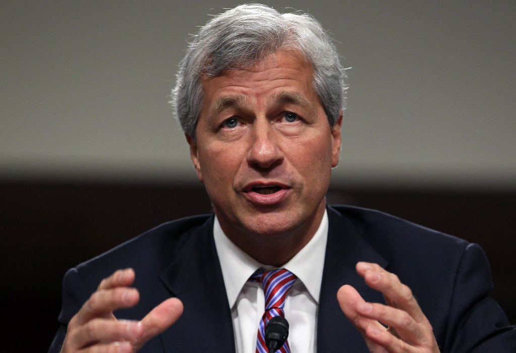 President and CEO of J.P. Morgan Chase Co. Jamie Dimon testifies before a Senate Banking Committee hearing