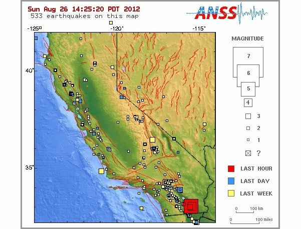 A screenshot of earthquake occurrences in the California Nevada region via the U.S. Geological Survey website. The red boxes indicate quakes that have rattled Brawley Sunday.