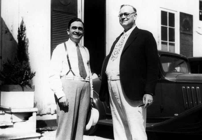 Los Angeles County Sheriffs William I. Traeger (who served 1921-1932) and Eugene Warren Biscailuz (1932-1958), c. 1930s.