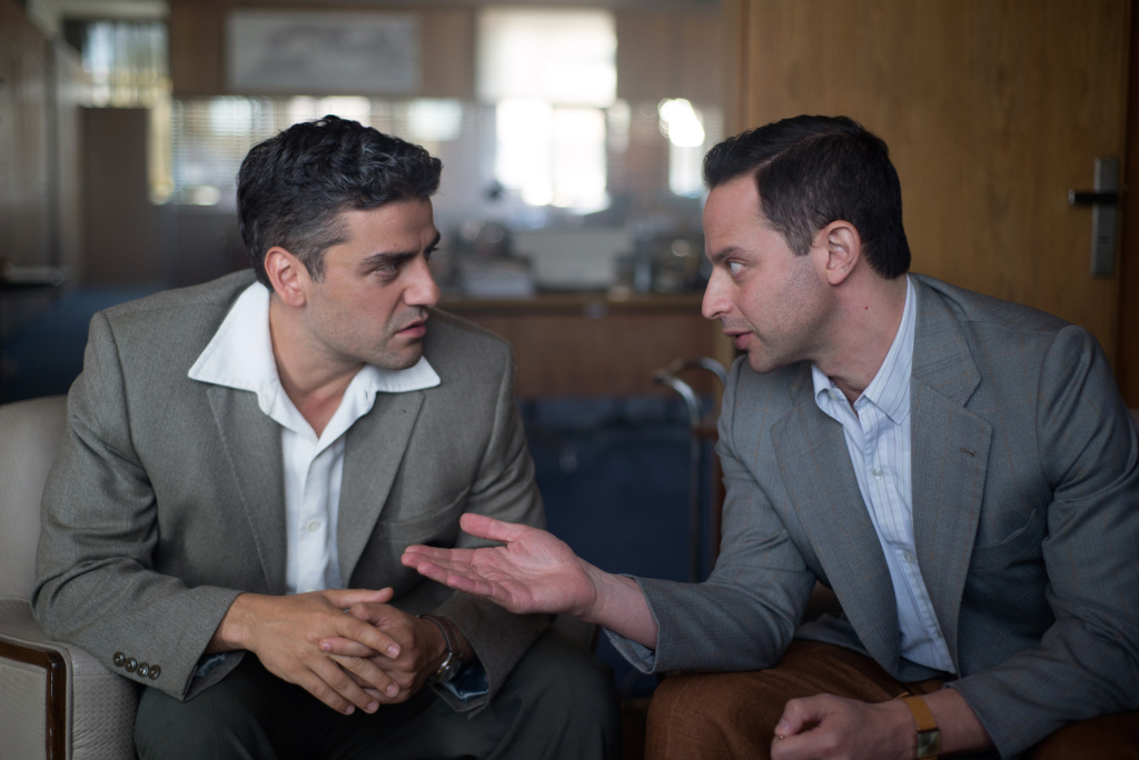 Oscar Isaac (left) stars as Peter Malkin and Nick Kroll (right) stars as Rafi Eitan in OPERATION FINALE, written by Matthew Orton and directed by Chris Weitz, a Metro Goldwyn Mayer Pictures film.