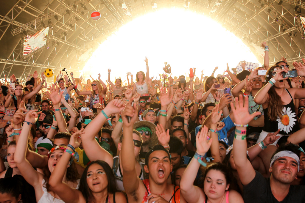 Music fans attend day 3 of the 2014 Coachella Valley Music & Arts Festival at the Empire Polo Club on April 20, 2014 in Indio, California.