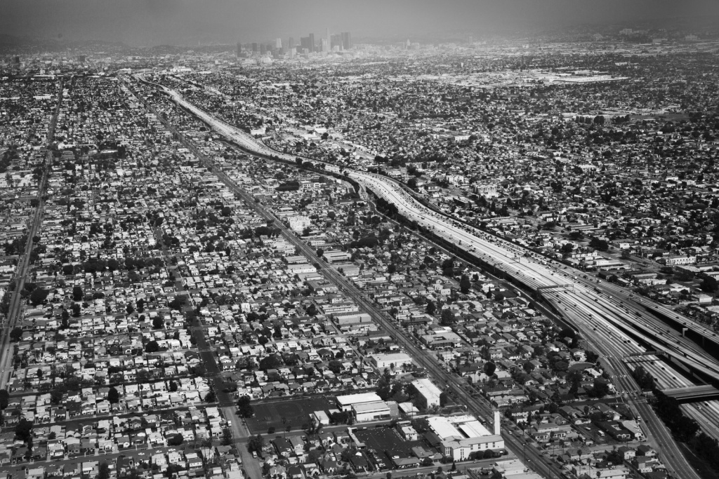 The 110 and downtown Los Angeles.