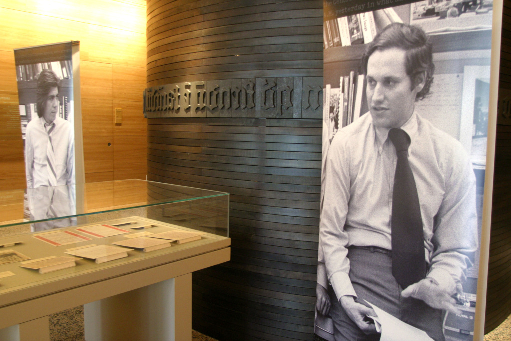 Reporters Bob Woodward and Carl Bernstein's Watergate papers are seen on display at the Harry Ransom Humanities Research Center at the University of Texas February 4, 2005 in Austin, Texas.