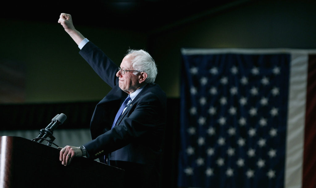 PHOENIX, AZ - MARCH 15:  Democratic presidential candidate Sen. Bernie Sanders (D-VT) speaks to a crowd gathered at the Phoenix Convention Center during a campaign rally.