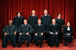 The Justices of the US Supreme Court, October 8, 2010, at the Supreme Court in Washington, DC. Front row (L-R): Associate Justice Clarence Thomas, Associate Justice Antonin Scalia, Chief Justice John G. Roberts, Associate Justice Anthony M. Kennedy and Associate Justice Ruth Bader Ginsburg. Back Row (L-R): Associate Justice Sonia Sotomayor, Associate Justice Stephen Breyer, Associate Justice Samuel Alito Jr. and Associate Justice Elena Kagan.