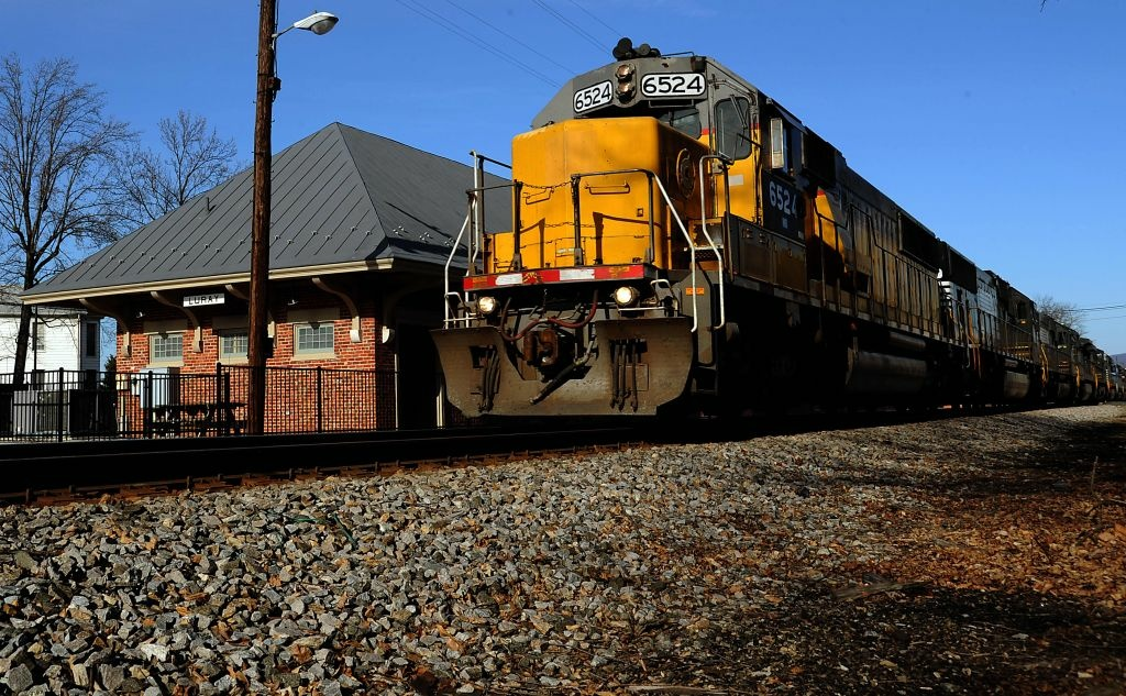 A Norfolk Southern freight train rumbles through Luray, Virginia February, 18, 2012. Freight trains deliver goods to and from the inland port at Front Royal, Virginia.