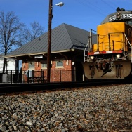 A Norfolk Southern freight train rumbles