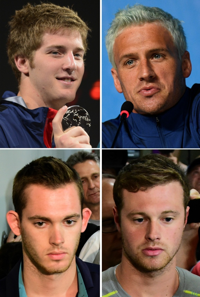 James Feigen (top L), Ryan Lochte (top R) Gunnar Bentz (bottom L) and Jack Conger, the swimmers who were involved in the incident.