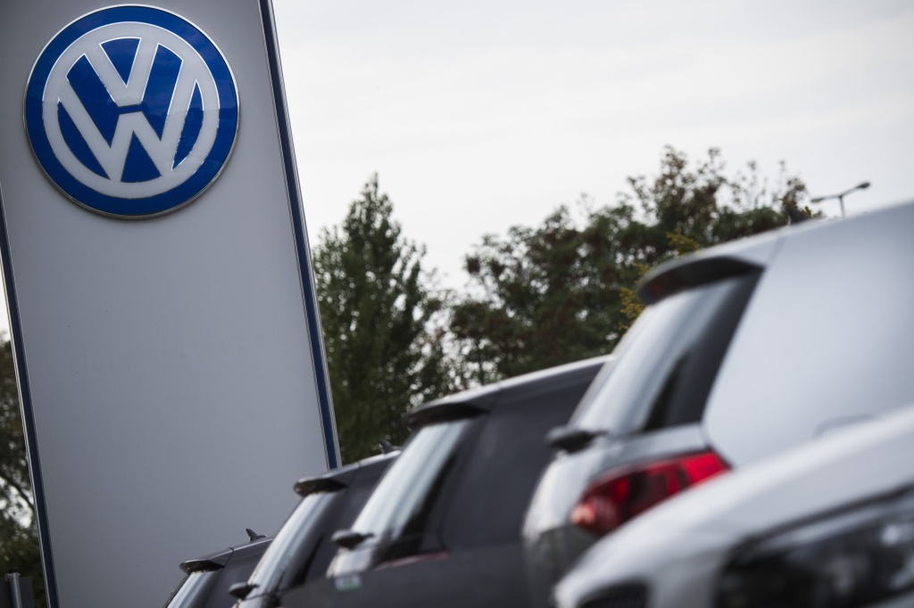 File: The Volkswagen logo is seen at a Volkswagen dealer in Berlin on September 22, 2015.