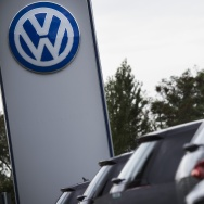 The Volkswagen logo is seen at a Volkswagen dealer in Berlin on September 22.