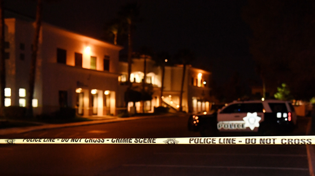 Police tape blocks a parking lot at the Jewish Community Center of Southern Nevada after an employee received a suspicious phone call that led about 10 people to evacuate the building on February 27, 2017 in Las Vegas, Nevada.