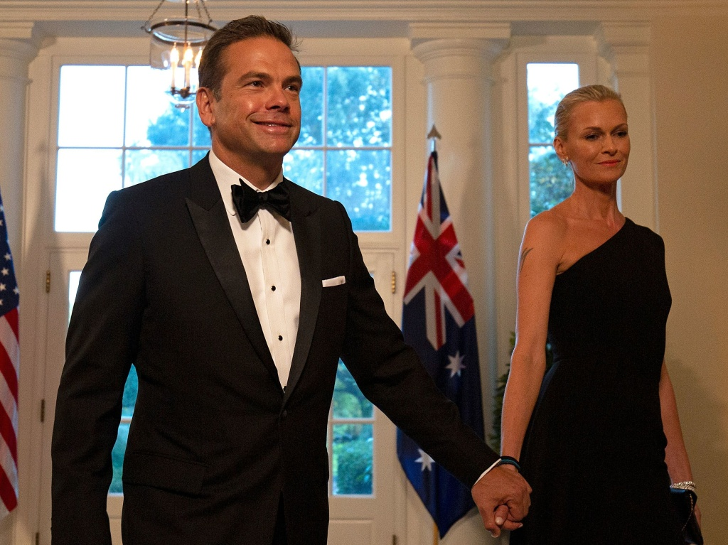 Fox Corp.'s Lachlan Murdoch and his wife, Sarah, arrive at the White House for a 2019 state dinner honoring Australian Prime Minister Scott Morrison. Murdoch and his family reportedly are moving to Sydney.