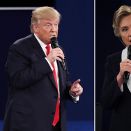 File: In this composite image, Republican presidential nominee Donald Trump (L) and Democratic presidential nominee Hillary Clinton respond to questions during the town hall debate at Washington University on Sunday, Oct. 9, 2016 in St. Louis, Missouri.