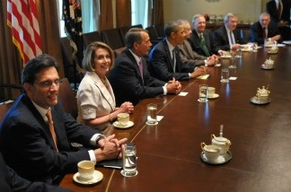 US President Barack Obama (4th L) takes part in a meeting with congressional leaders on the budget deficit July 14, 2011 in the Cabinet Room of the White House in Washington, DC.