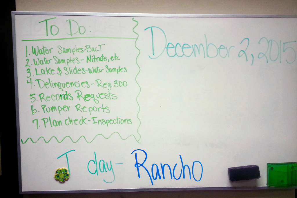 The San Bernardino Environmental Health Services division left their 2nd floor offices the morning of Dec. 2 and never returned. Someone's to-do list is still there, frozen in time. A member of the staff orchestrated the mass shooting that killed 14 and injured 22. The offices are empty now and will be remodeled before the staff returns from a temporary workspace in another building.