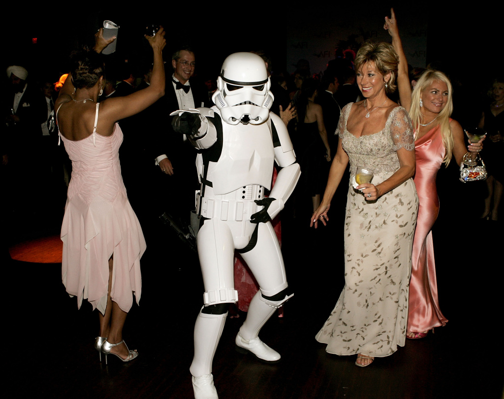 A stormtrooper dances at the 33rd AFI Life Achievement Award after party at the Highlands on June 9, 2005 in Hollywood, California.