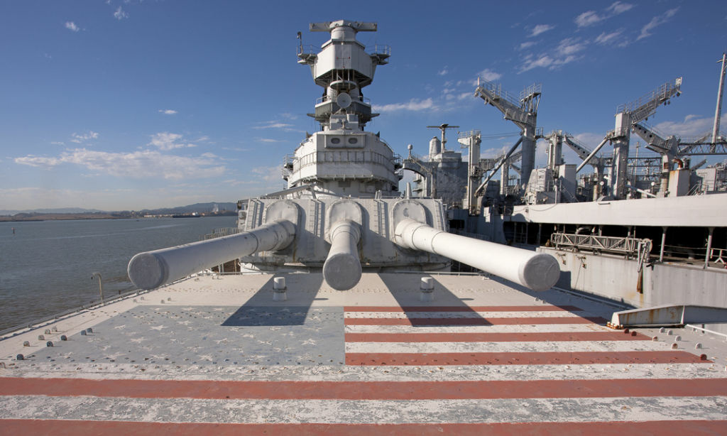 The USS Iowa berthed at its permanent home in the Port of Los Angeles in San Pedro, California.