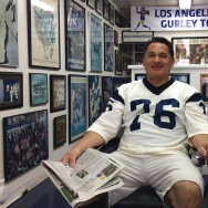 Sal Martinez, owner of the Golden Ram Barber shop in Westminster says he's been a fan of the Los Angeles Rams since he was 7 years old.