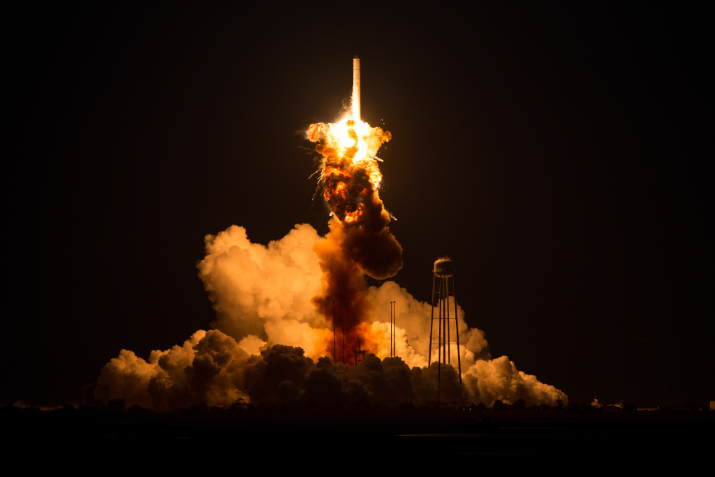In this handout provided by National Aeronautics and Space Administration (NASA), The Orbital Sciences Corporation Antares rocket, with the Cygnus spacecraft onboard suffers a catastrophic anomaly moments after launch from the Mid-Atlantic Regional Spaceport Pad 0A at NASA Wallops Flight Facility on October 28, 2014 on Wallops Island, Virginia.