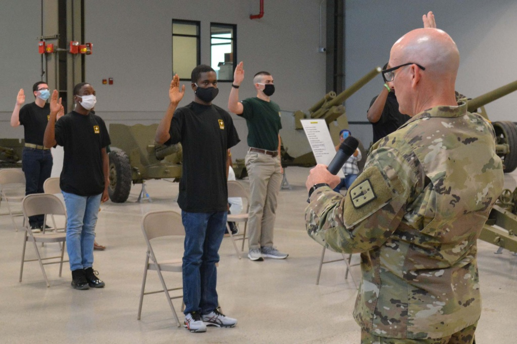 Army recruits take their Oaths of Enlistment at Fort Lee, Va. June 22.
