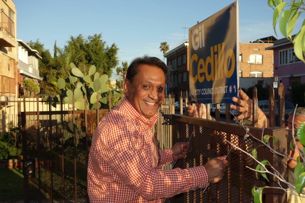 Gil Cedillo with yard sign