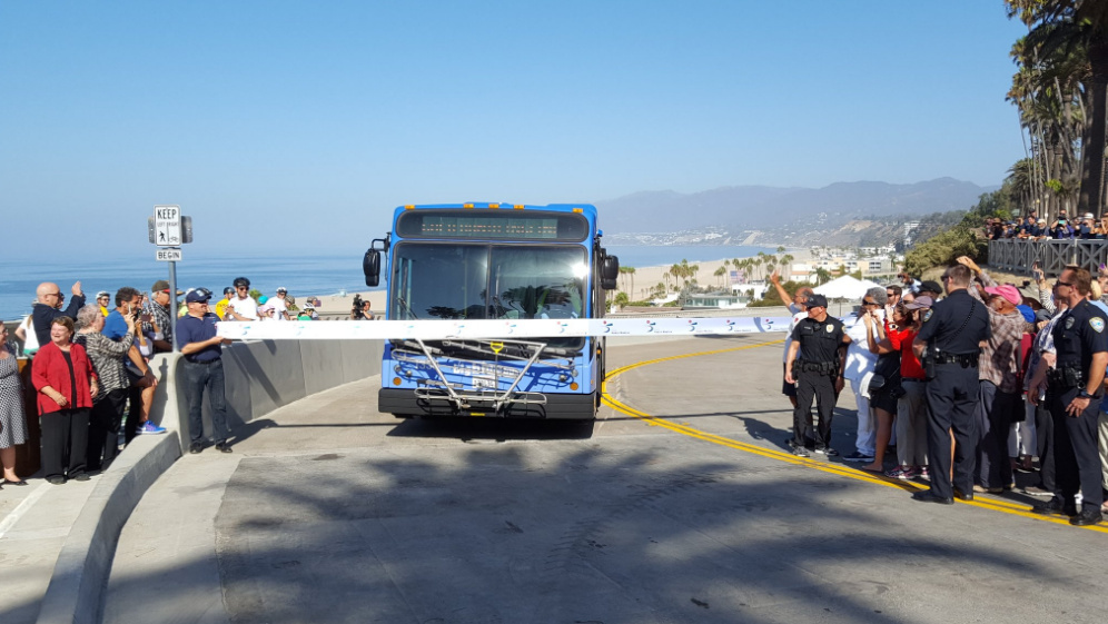 A Santa Monica Big Blue Bus broke the tape to celebrate the reopening of the California Incline on Sept. 1, 2016, after a 17-month project that rebuilt the road with seismic retrofits, a new bike lane and a wider pedestrian walkway.