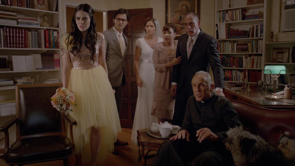 Edy Ganem, Michael Steger, Mercedes Masohn, Elizabeth Peña, Nestor Serrano and Pepe Serna in a scene in ANA MARIA IN NOVELA LAND