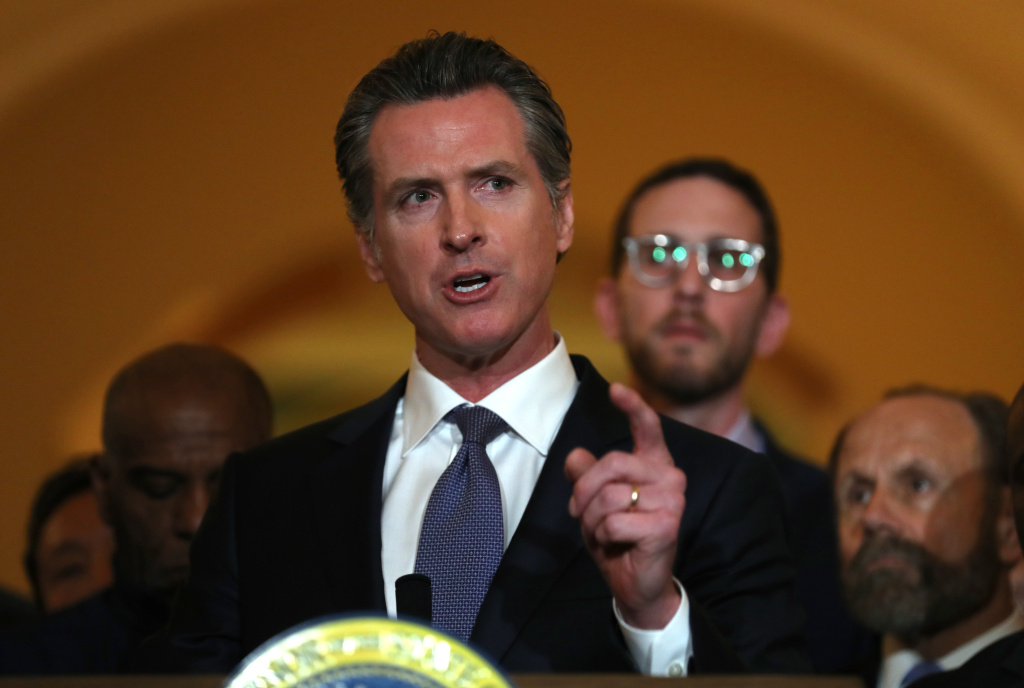 SACRAMENTO, CALIFORNIA - MARCH 13: California Gov. Gavin Newsom speaks during a news conference at the California State Capitol on March 13, 2019 in Sacramento, California. Newsom announced today a moratorium on California's death penalty. California has 737 people on death row, the largest death row population in the United States.  (Photo by Justin Sullivan/Getty Images)