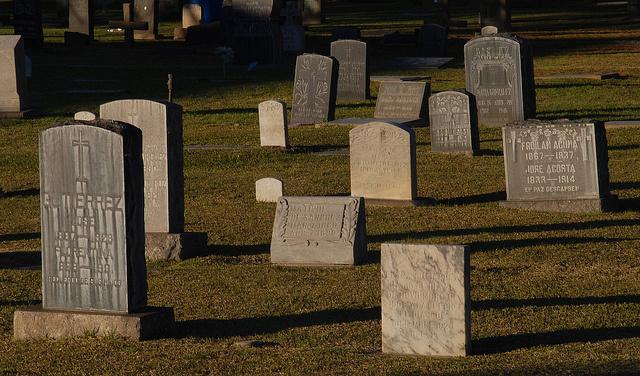Tombstones at San Gabriel Mission.